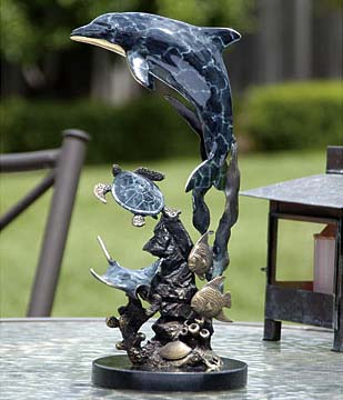Art Finish Dolphin & Friends Sculpture