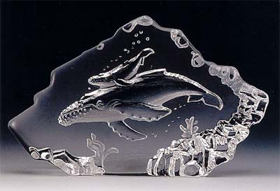 Whale and Calf Leaded Crystal Sculpture