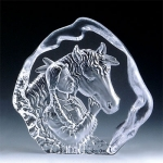 Native Horse Leaded Crystal Sculpture