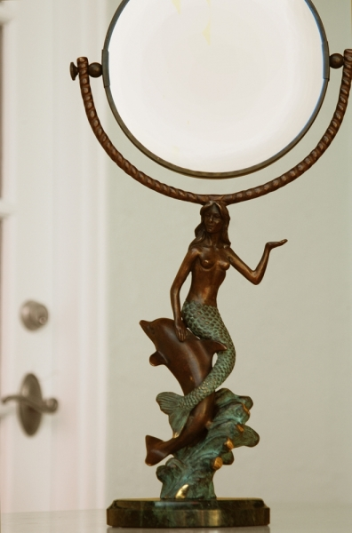Mermaid & Dolphin Table Mirror Double Sided Regular & 2.5 Magnification