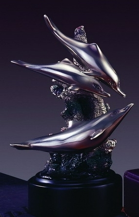 Three Swimming Dolphins Sculpture