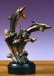 Bronze Plated Three Dolphins Statue