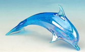 Blue Hand-Blown Dolphin Solid Glass Sculpture