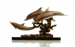 Hot Patina Trio Dolphins Sculpture
