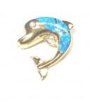 Gold Opal Dolphin Pendant