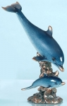 Playful Mother and Baby Dolphins Sculpture