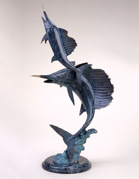 Sailfish Pair on Wave Sculpture