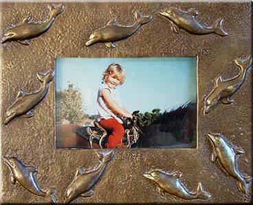 Bronze Dolphin Picture Frame
