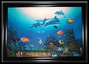 Medium Dolphin Family Oil Painting