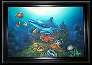 Medium Mother & Baby Dolphin Oil Painting Canvas Size: 24 inches H. x 36 inches W. Frame Color: Black Frame Size: 28.5 inches H. x 40.5 inches W.
