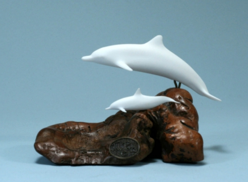 Mother & Calf Dolphin on Wood Sculpture