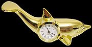 24K Gold Plated Over Solid Brass Dolphin Clock