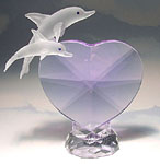 Crystal Heart with Two Dolphins Figurine