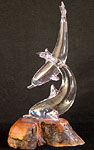 Duo Dolphins on Wood Base Glass Sculpture