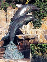 "60"" Verdigris Patina Dolphin Fountain"