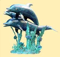 """Perfect World"" Trio Dolphins Fountain"