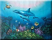 36x48 Dolphin & Sea Turtle Oil Painting