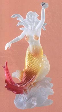 Mermaid Holding Pearl Lucite Sculpture